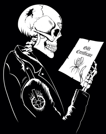 Skeleton holding a gift certificate for lots of vinyl records