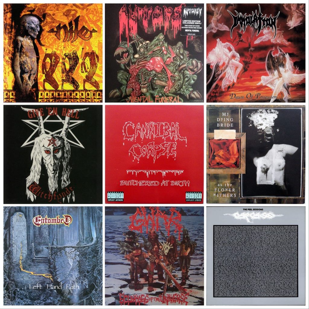 Second hand vintage death metal vinyl records