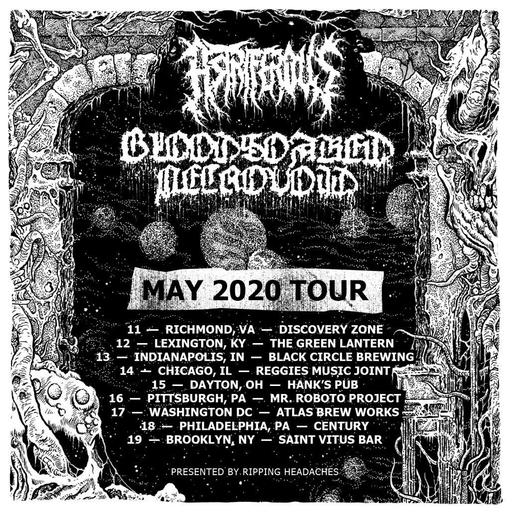 Bloodsoaked Necrovoid & Astriferous East Coast tour flyer 2020