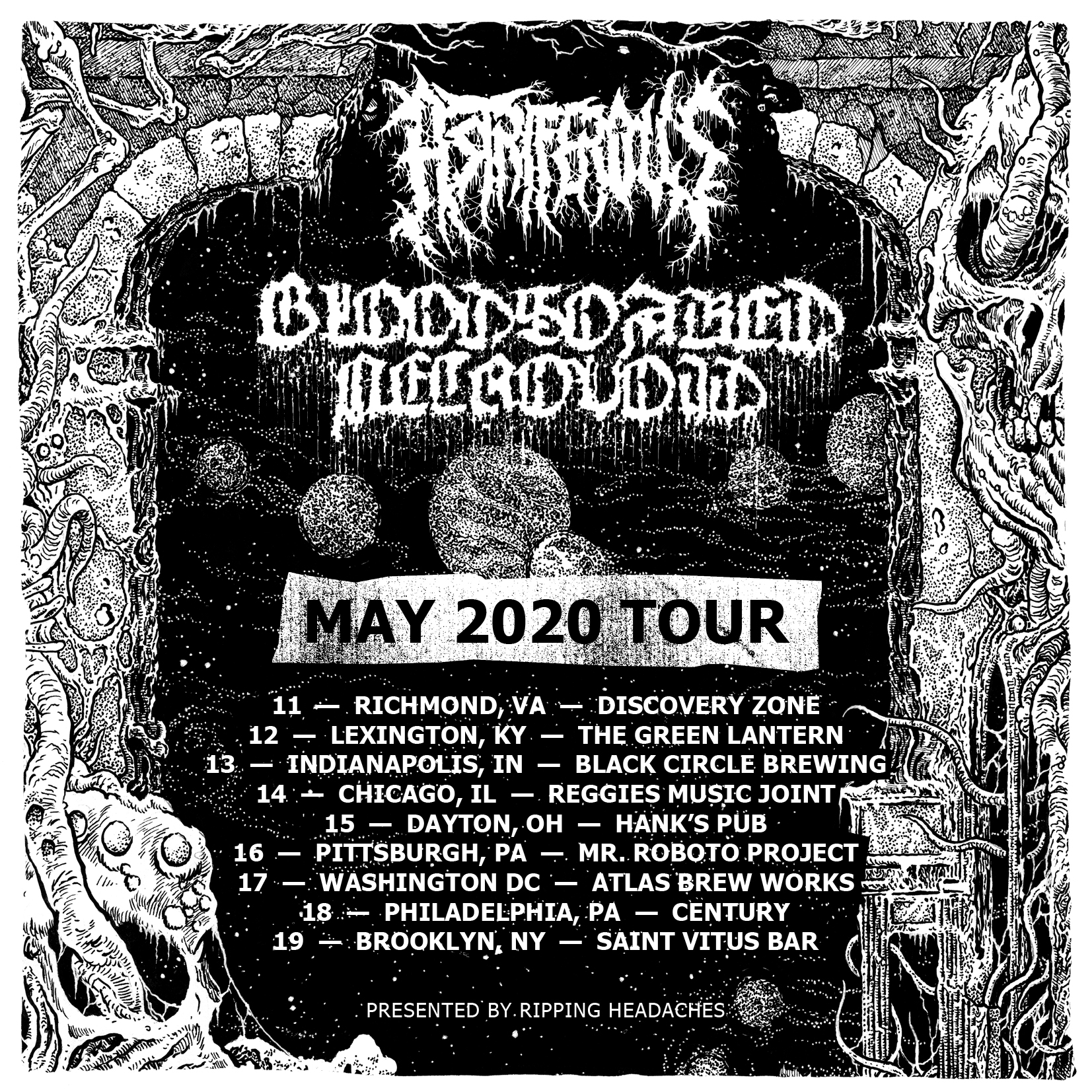 Bloodsoaked Necrovoid & Astriferous East Coast tour flyer 2020
