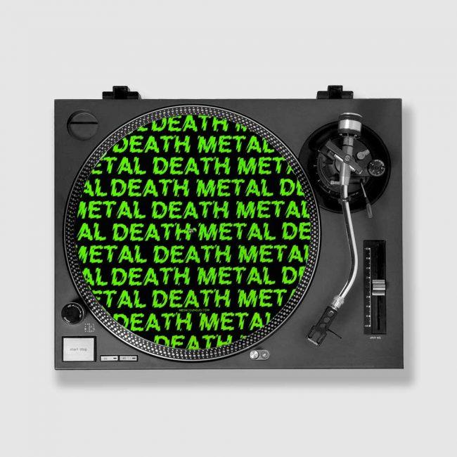 Death metal slipmat on turntable