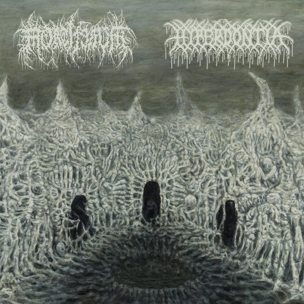 Hyperdontia and Mortiferum split 7'' cover art